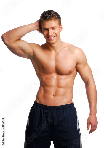 Excellence male training body. Isolated on White.