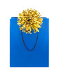 Blue gift bag with golden bow. Isolted on white.