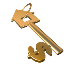 Key symbolising credits for real estate purchase