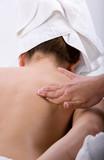 Massage therapist giving a massage poster