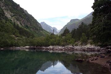 stoned shore of lake Baduk, Caucasus.