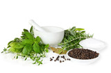 Fototapety Mortar and pestle, with fresh-picked herbs