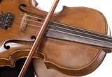 closeup of wooden violin with playing fiddlestick on strings poster