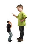 Caricature of a large son pointing his finger at the small dad.  poster