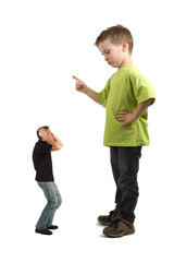 Caricature of a large son pointing his finger at the small dad.
