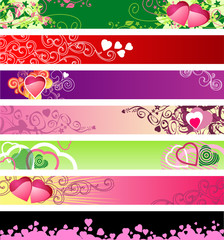 love & hearts website banners / vector / set #1