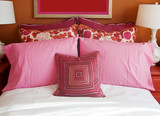Youthful vibrant Pink and Orange colorful bedroom poster