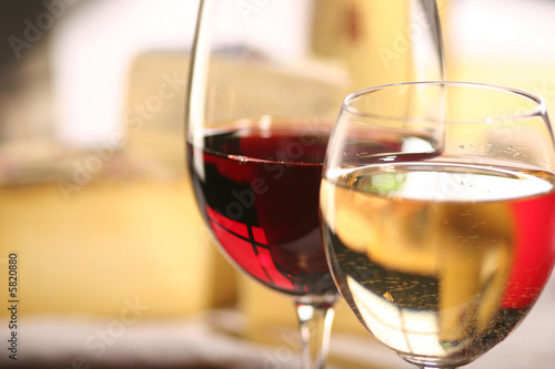 Fotobehang Wijn Käse und Wein