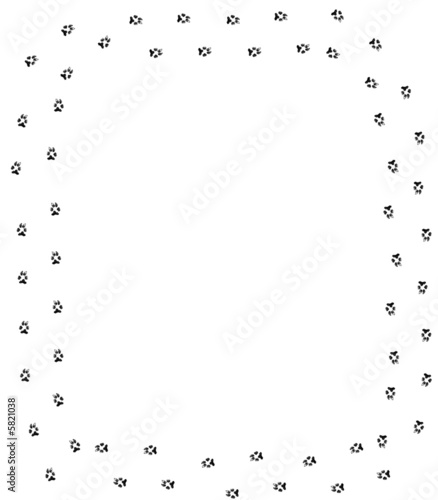dog paw print border on white background