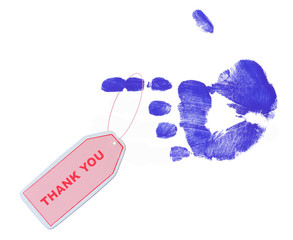 pink thank you tag on blue pointed finger