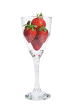 Modern twist stem wine glass filled with ripe strawberries poster