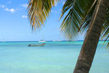 ocean with boat on the Caribbean shore of Bavaro beach,  poster