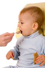 feeding of small boy on white background