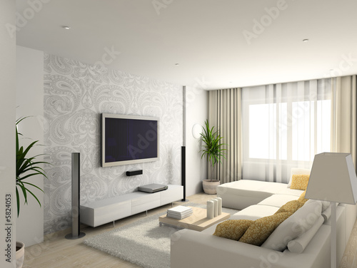 Contemporary Living Furniture on Photo  Living Room With The Modern Furniture  3d Render     George