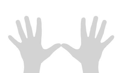 Hands of the person, gesture of pleasure, triumph, delight.
