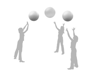 Silhouettes of girls playing the volleyball, three balls.