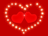 Two 3d red hearts in an environment of shining stars poster
