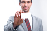 Man in suit with visiting card poster