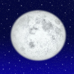 Beautiful full moon on starry sky