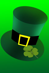 Irish top hat with buclkle and clover leaf