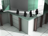 Workplace at modern office 3d image poster