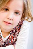 Blond child awaiting an answer poster