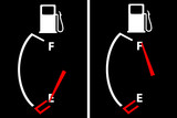 2 Gasoline petrol guages with symbols on empty and full