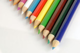 Triangle shape pattern composed of  colored pencils. poster