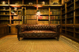 Retro brown leather couch