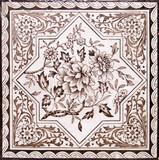 Victorian period decorative arts printed tile in sepia tone poster