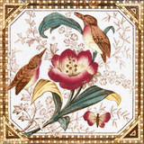 Victorian aesthetic period painted bird design tile poster