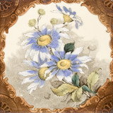 Victorian period decorative arts printed tile with flowers poster