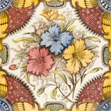 A brightly coloured Victorian period aesthetic design tile  poster