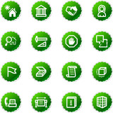 green sticker building icons poster