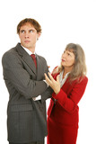 Businesswoman trying to explain to a stubborn employee.  poster