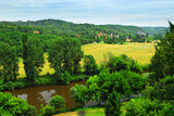 Scenic view on Dordogne river and contryside, Perigord, France