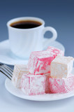 Turkish delight (lokum) confection with black coffee poster