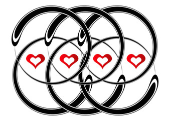 red heart and black circle pattern