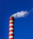 heating plant chimney white smoke with blue sky poster