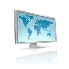 écran d'ordinateur avec planisphère