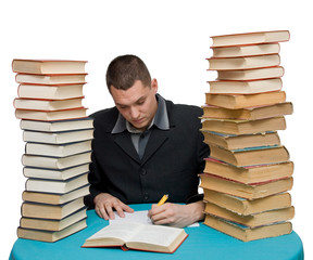 hard working man with books isolated