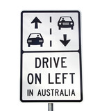 Drive on left in Australia sign, Great Ocean Road, Victoria poster