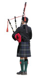 Scottish Piper isolated on white with clipping path poster