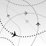 Airplanes Airlines Flight Paths in Sky poster