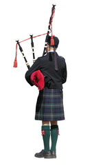 Scottish Piper isolated on white with clipping path
