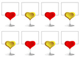 gold and red heart message holders for wedding