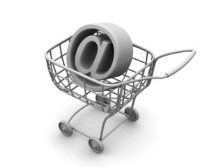 Consumer basket with sign for internet. 3d