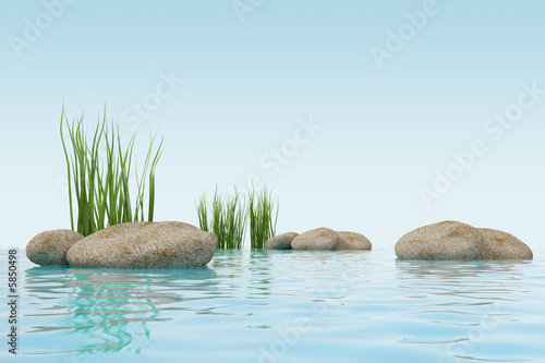 3d model water, grass and stone. made in 3ds max