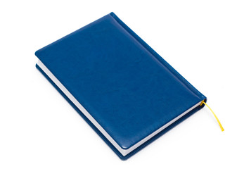 Blue soft leather covered book isolated on white background