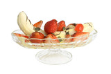 Banana split with strawberries & ice cream isolated on white  poster